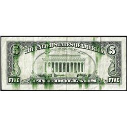 1985 $5 Federal Reserve Note Ink Smear ERROR