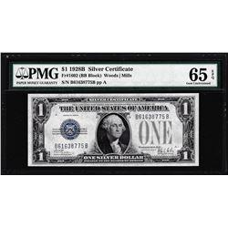 1928B $1 Silver Certificate Note Fr.1602 PMG Gem Uncirculated 65EPQ