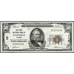 1929 $50 First National Bank Danville, IL CH# 113 National Currency Note