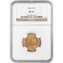 1882-S $5 Liberty Head Half Eagle Gold Coin NGC MS62