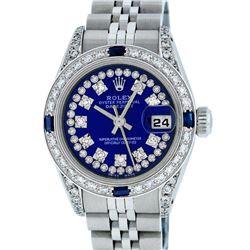Rolex Ladies Stainless Steel Royal Blue String VVS Diamond Datejust Wristwatch