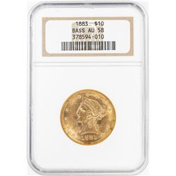 1883 $10 Liberty Head Eagle Gold Coin NGC AU58 Bass Collection