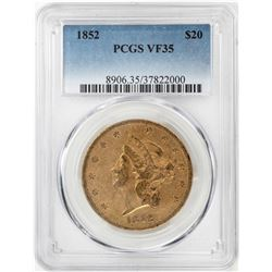 1852 $20 Liberty Head Double Eagle Gold Coin PCGS VF35