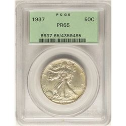 1937 Proof Walking Liberty Half Dollar Coin PCGS PR65 Old Green Holder