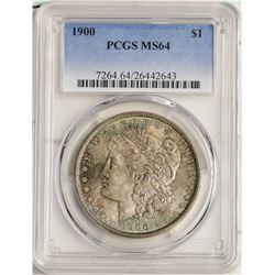 1900 $1 Morgan Silver Dollar Coin PCGS MS64 Nice Toning