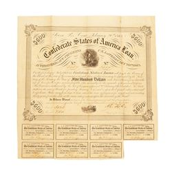 February 20, 1863 $500 Confederate States of America Bond