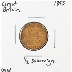 1893 Great Britain 1/2 Sovereign Gold Coin
