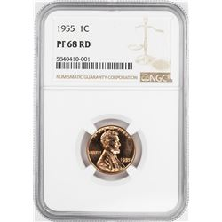1955 Proof Lincoln Wheat Cent Coin NGC PF68RD