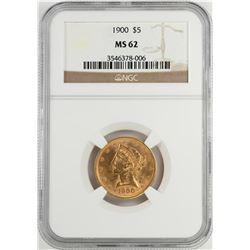 1900 $5 Liberty Head Half Eagle Gold Coin NGC MS62
