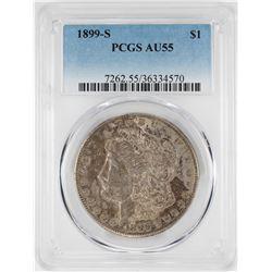 1899-S $1 Morgan Silver Dollar Coin PCGS AU55