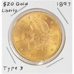 1897 $20 Liberty Head Double Eagle Gold Coin