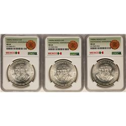 Lot of (3) 1960Mo Mexico 10 Pesos Independence Anniversary Silver Coins NGC MS64