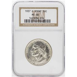 1937-D Boone Commemorative Half Dollar Coin NGC MS66