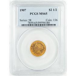 1907 $2 1/2 Liberty Head Quarter Eagle Gold Coin PCGS MS65
