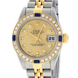 Rolex Ladies Quickset Two Tone Champagne Diamond & Sapphire Datejust Wristwatch