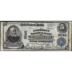 1902 PB $5 Franklin NB of Washington, DC CH# 9545 National Currency Note