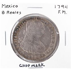 1794 F.M. Mexico 8 Reales Carlous IIII Silver Coin Chopmark