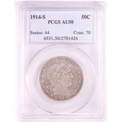 1914-S Barber Half Dollar Coin PCGS AU50