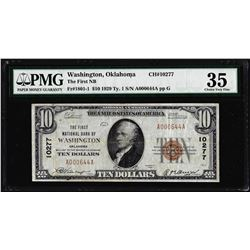 1929 $10 First NB of Washington, OK CH# 10277 National Currency Note PMG Choice Very Fine 35