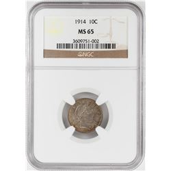 1914 Barber Dime Coin NGC MS65