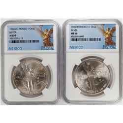 1984-1985Mo Mexico 1 Onza Libertad Silver Coins NGC MS66
