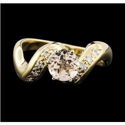 14K Yellow Gold 0.80 ctw Morganite and Diamond Ring