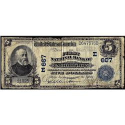 1902 PB $5 First NB of Mount Joy, PA CH# 667 National Currency Note