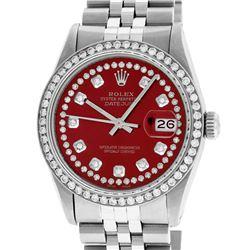 Rolex Men's Stainless Steel Red String Diamond 36MM Datejust Wristwatch