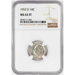 1953-D Roosevelt Dime Coin NGC MS65FT