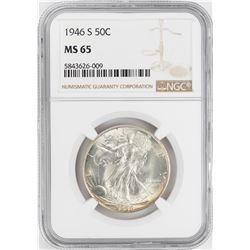 1946-S Walking Liberty Half Dollar Coin NGC MS65
