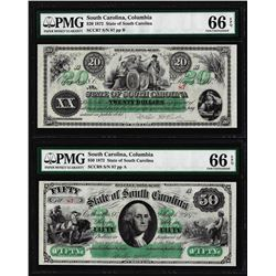 Matching Low Serial 1872 $20 & $50 South Carolina Obsolete Notes PMG Gem Unc. 66EPQ