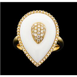14KT Rose Gold 4.56 ctw White Onyx and Diamond Ring