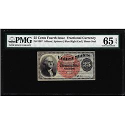 1863 25 Cent 4th Issue Fractional Currency Note Fr.1307 PMG Choice Uncirculated 65EPQ