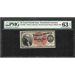 March 3, 1863 4th Issue 25 Cent Fractional Currency Note PMG Choice Uncirculated 63EPQ