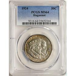 1924 Huguenot Tercentenary Commemorative Half Dollar Coin PCGS MS64