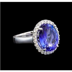 14KT White Gold 7.98 ctw Tanzanite and Diamond Ring