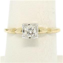 14K Yellow & White Gold Illusion Prong Set 0.25 ctw Diamond Solitaire Ring