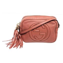 Gucci Pink Pebbled Leather Soho Disco Crossbody Bag