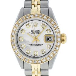 Rolex Ladies 2 Tone 14K MOP Diamond Datejust Wristwatch