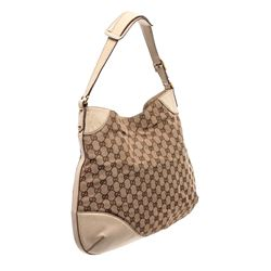 Gucci Tan Brown GG Canvas Leather Trim Horsebit Hobo Bag