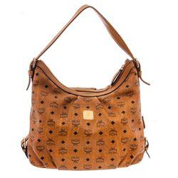 MCM Cognac Visetos Coated Canvas Leather Medium Hobo Bag