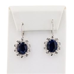 14.80 ctw Blue Sapphire and 0.46 ctw Diamond 14K White Gold Earrings