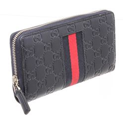 Gucci Navy Blue Web Guccissima Leather Zippy Wallet