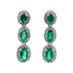 3.25 ctw Emerald and Diamond Earrings - 18KT White Gold