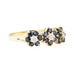1.05 ctw Sapphire and Diamond Ring - 14KT Yellow Gold