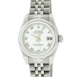 Rolex Ladies Stainless Steel White Roman Quickset Datejust Wristwatch With Rolex