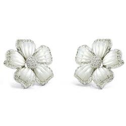 18k White Gold 0.71CTW Mother Of Pearl and Diamond Earrings, (I1-I2/I-J)
