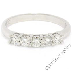 New 14kt White Gold 0.65 ctw 5 Stone Round Diamond Wedding Band Ring