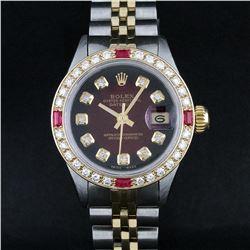 Rolex Ladies 2 Tone 18K Gold Bezel Red Vignette Diamond & Ruby Datejust Wristwat