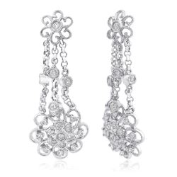 14k White Gold 0.39CTW Diamond Earrings, (I1-I2/H-I)